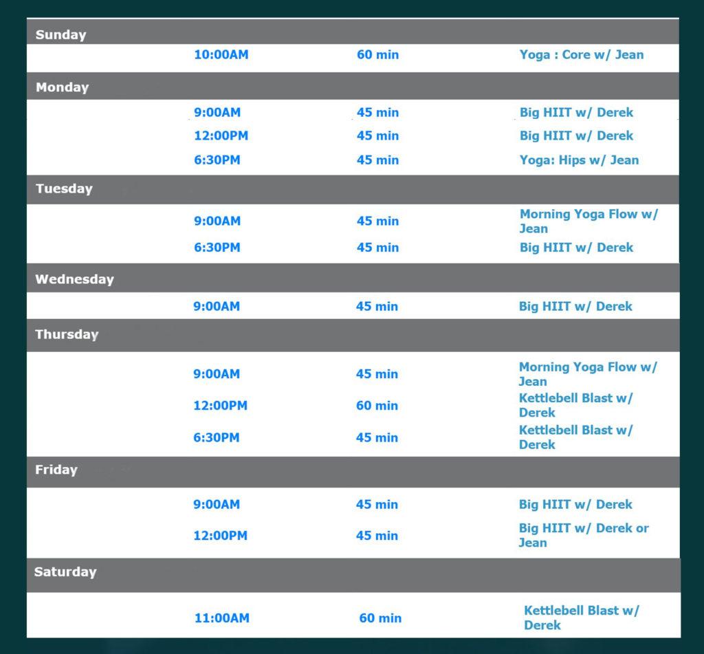 RVG weekly schedule